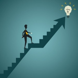 Cartoon of man climbing steep stairs to a light bulb titled 'idea'