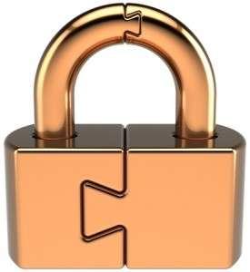 Copper coloured padlock with 2 interlocking halves like a jigsaw