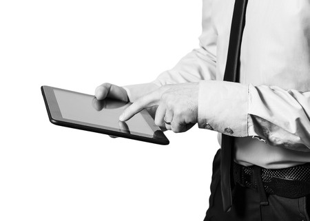 Man using an EHR on a tablet for Quality Improvement