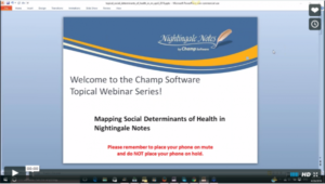 Screenshot of Mapping Social Determinants of Health in Nightingale Notes Webinar Frontpage