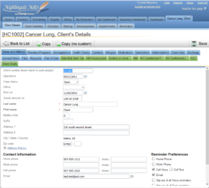 Nightingale Notes Client Details Cancer Lung Screen Shot