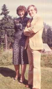 Dave & Deb Rosebaugh smartly dressed standing outside in 1981
