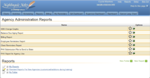 Nightingale Notes Agency Administration Reports Screen Shot