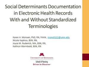Social Determinants Documentation in EHRs Presentation frontsheet