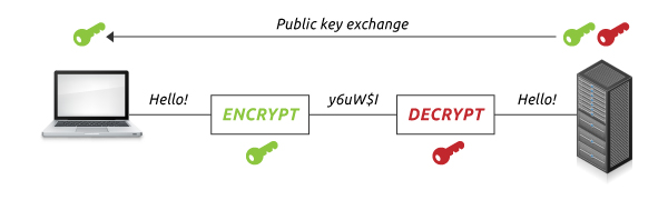 Process to send encrypted information with public key