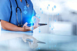 Health professional using HIE