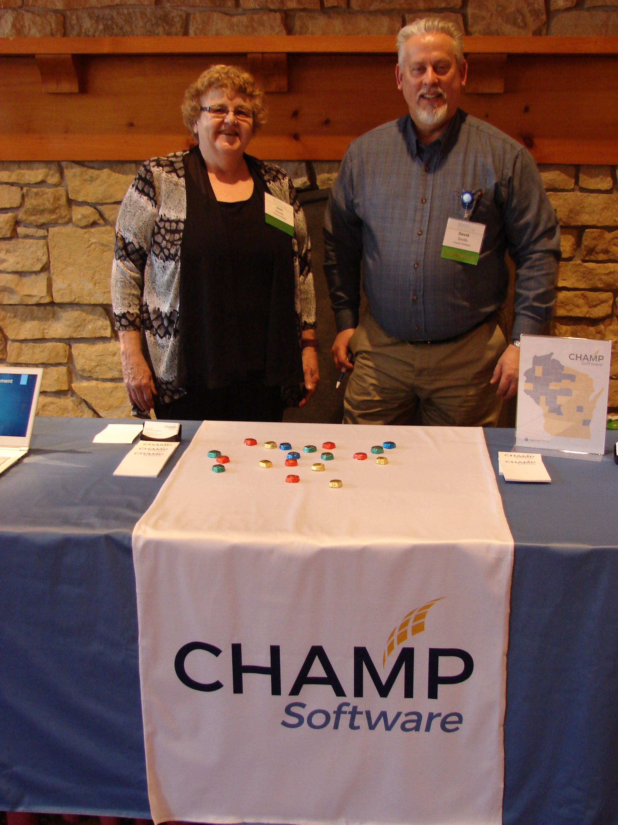 Jean Durch, Champ Software Training & Implementation Coordinator and David Smith Senior Account Executive at the Champ Software stand at the 2018 WALHDAB Operations Conference