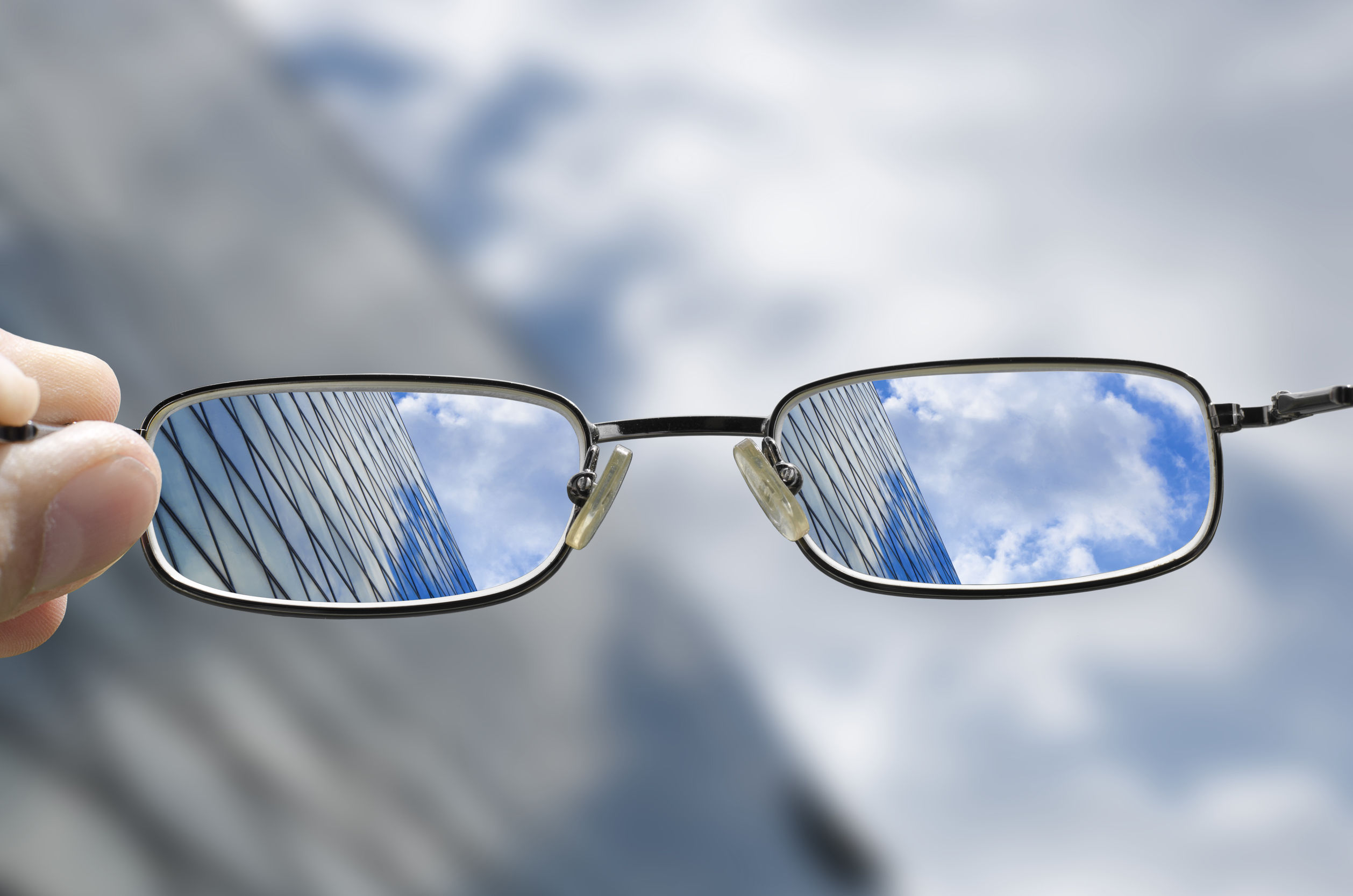 Eyeglasses lifted to give a clear view