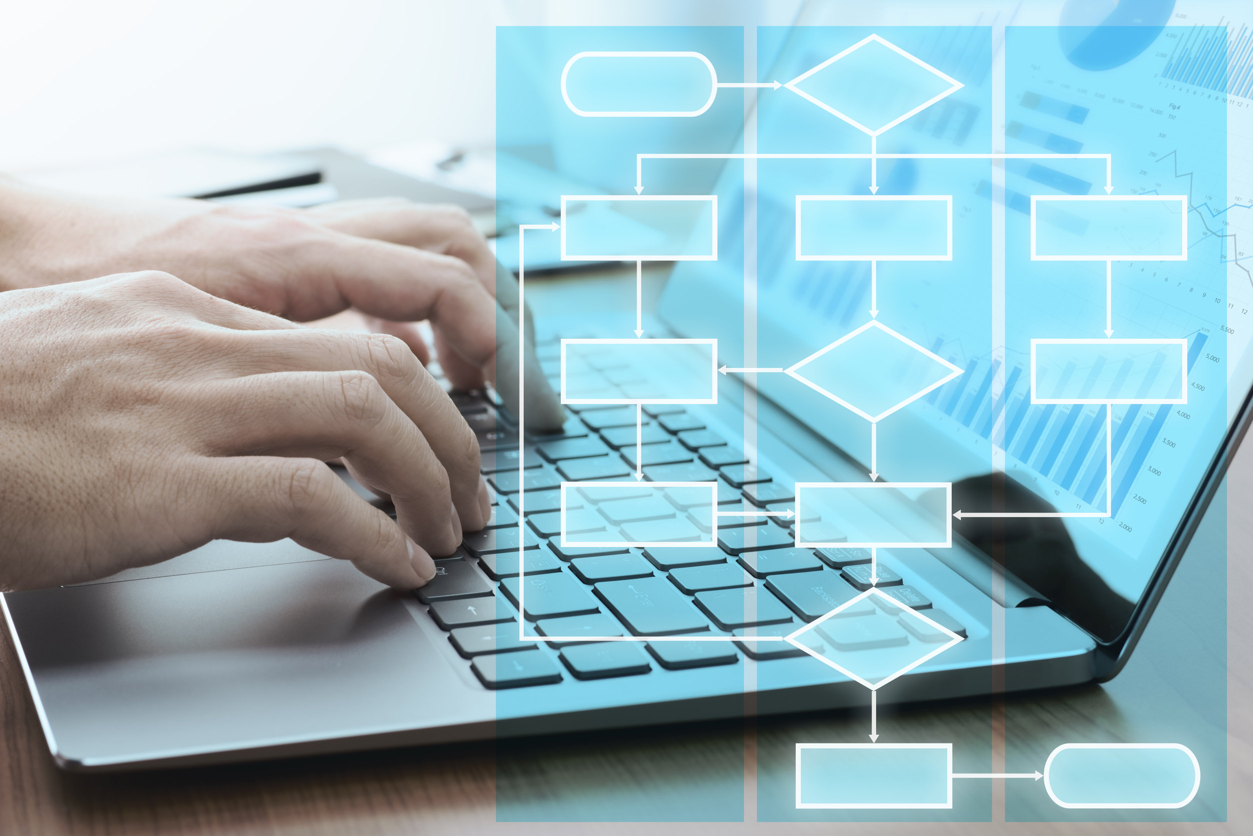 Workflow superimposed over photo of hands typing on laptop